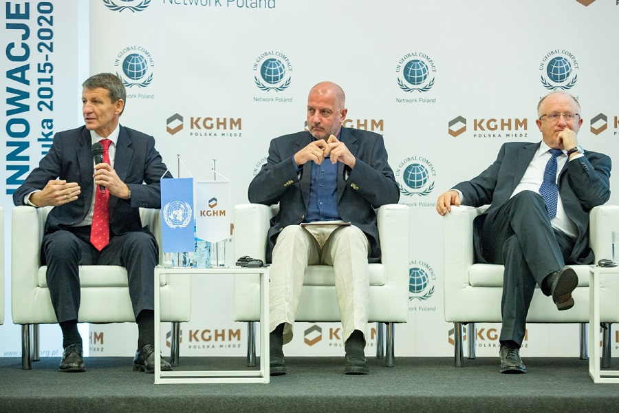 Minister Skarbu Państwa, Prezydent Wrocławia i prezes KGHM na scenie konferencji